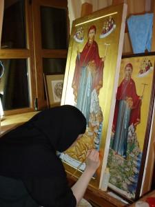 Монахиня рисува Света Богородица - Атонска